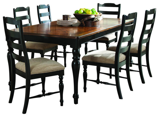 homelegance mckean 7-piece dining room set in black and brown