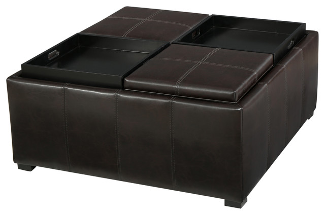 Geneva Brown Four Sectioned Leather Cube Storage Ottoman, Brown  Contemporary Footstools And