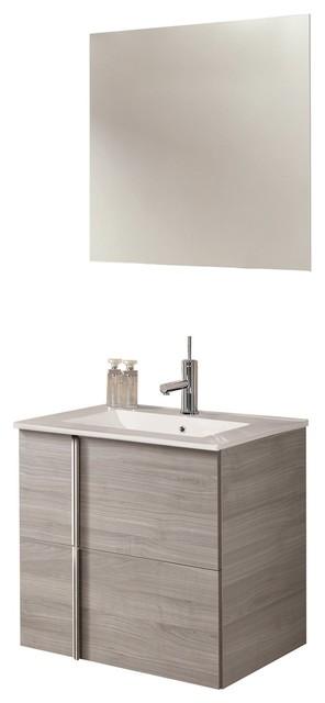24 Floating Bathroom Vanity Set Royo Onix With 2 Drawers High Sandy Gray Oak