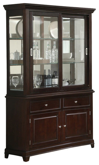 door kitchen cabinets coaster ramona buffet and hutch walnut traditional 3428