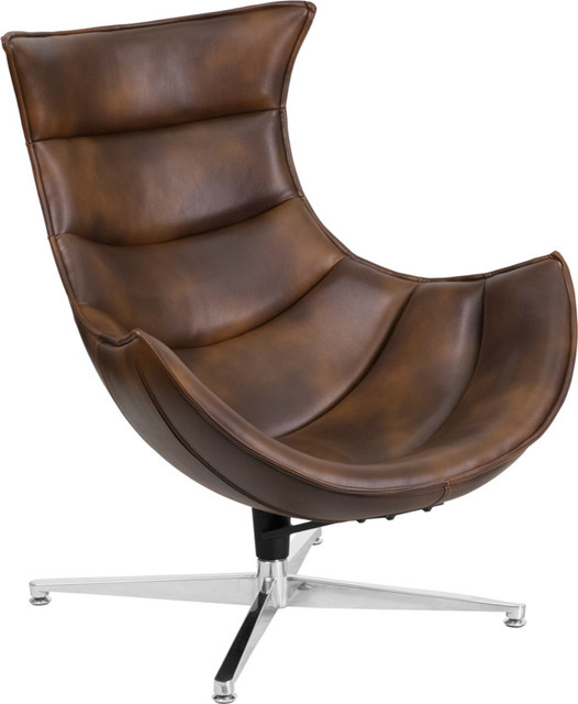 Flash Office Furniture Bomber Jacket Leather Swivel Cocoon Chair