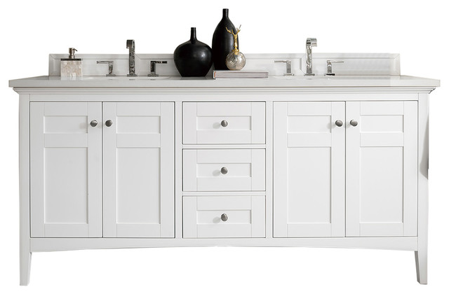 Palisades 72 Double Vanity Bright White Base Cabinet Only Transitional Bathroom Vanities And Sink Consoles By Luxx Kitchen And Bath Houzz