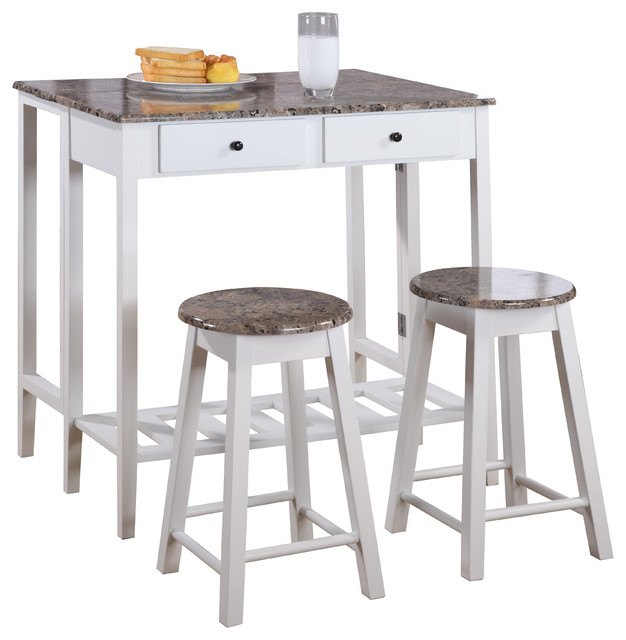 Pilaster Designs 3 Piece Kitchen Island Set Drop Down Table 2 Stools White Marble Finish