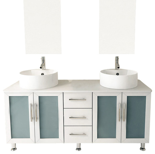 59  Double Lune White Large Vessel Sink Contemporary Bathroom Vanity Cabinet Set contemporary bathroom