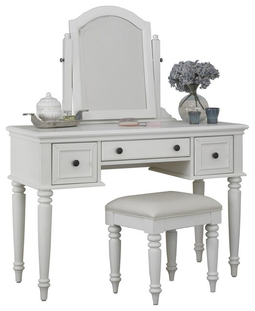 vanity table set in white finish traditional bedroom makeup vanities by shopladder. Black Bedroom Furniture Sets. Home Design Ideas