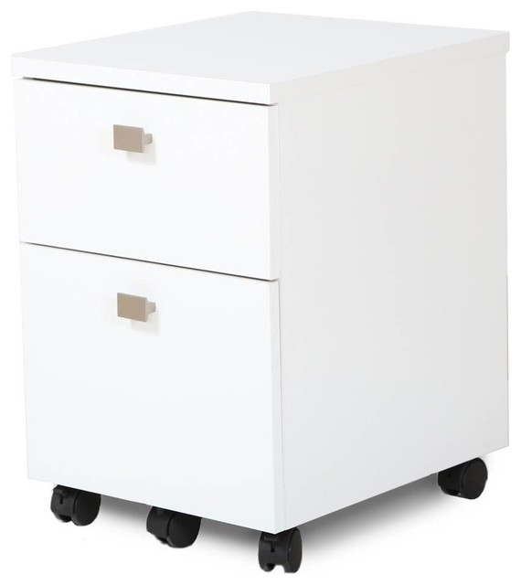 2-Drawers Mobile File Cabinet, Pure White Finish - Contemporary - Filing Cabinets - by ShopLadder
