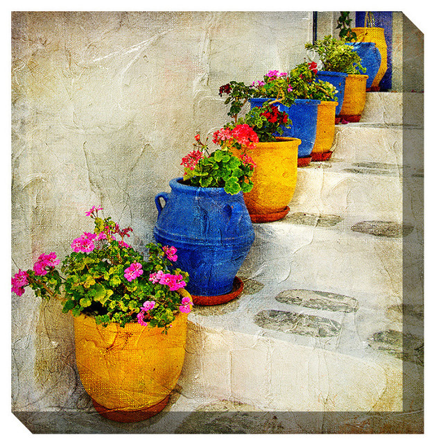 West Of The Wind Outdoor Canvas Wall Art Bright Pots Contemporary Outdoor Wall Art By West Of The Wind