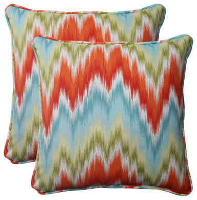 Pillow Perfect Opal Outdoor Flamestitch Corded 18 1/2-Inch Throw Pillow