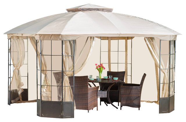 Somerset Outdoor Steel Gazebo Canopy With Tan Cover.