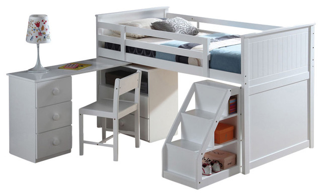 Children S Wooden Loft Bed With Pull Out Desk White Twin Contemporary