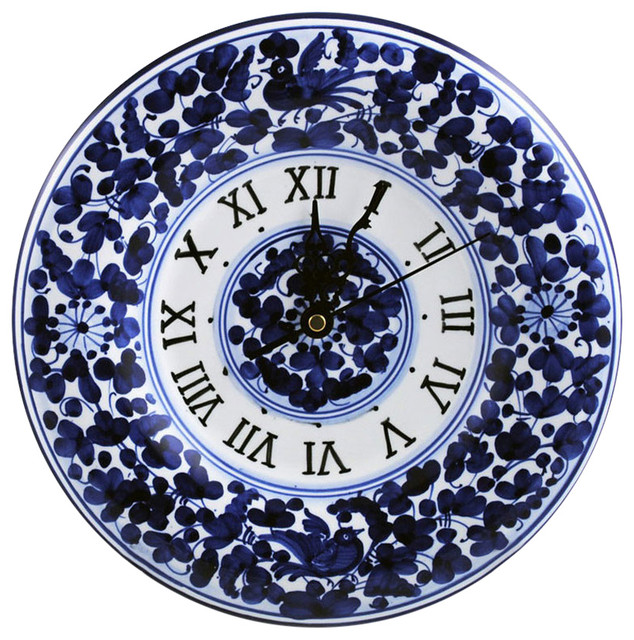 Italian Ceramic Wall Clock Arabesco Blue Fratelli Mari