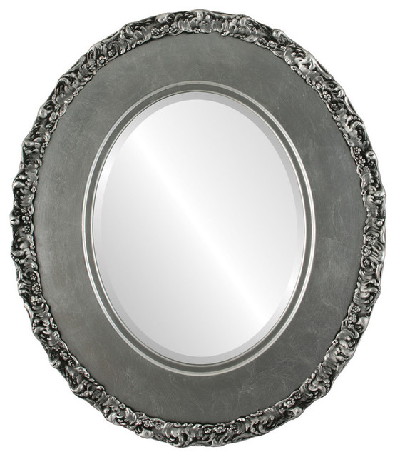 "Williamsburg Framed Oval Mirror In Silver Leaf With Black Antique, 27""x37""."