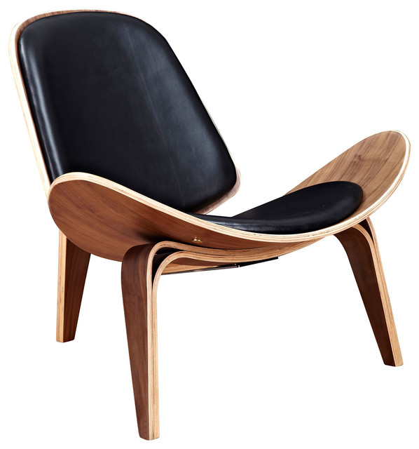 Shell Leather U0026 Walnut Mid Century Modern Chair, Black