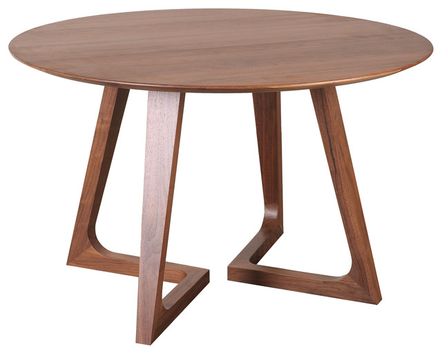 Godenza dining table round walnut contemporary dining for Small contemporary dining tables