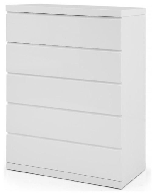 Anna Chest Of 5 Drawers High Gloss White Full Extension Drawers.