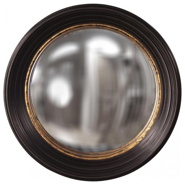 Rex Espresso Brown With Mottled Gold Leaf Inset Round Mirror