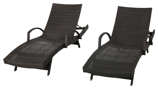 Olivia Outdoor Brown Wicker Armed Chaise Lounge Chairs