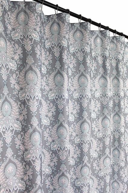 Blue Gray White Fabric Shower Curtain