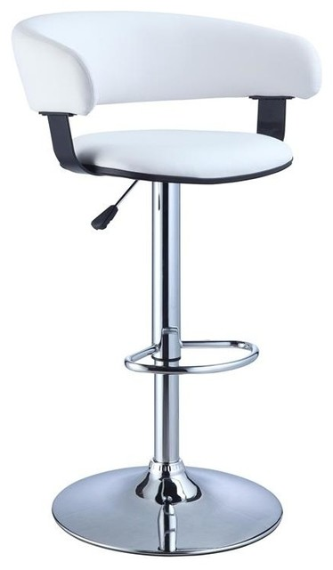 Tremendous Powell White Faux Leather Barrel And Adjustable Height Bar Stool Uwap Interior Chair Design Uwaporg