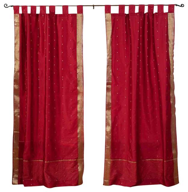 Shop Houzz Indian Selections Maroon Tab Top Sheer Sari Curtain Drape And Panel Pair Curtains