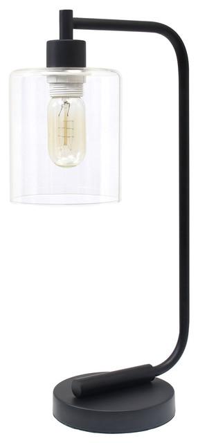 Simple Designs Bronson Antique Style Industrial Iron Lantern Desk Lamp, Black.