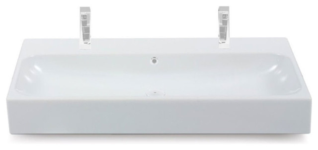 Nameeks Two Hole Rectangular Vessel Or Wall Mounted Sink, White.