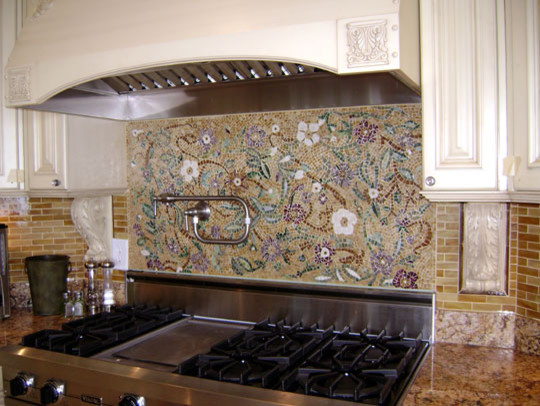 Mosaic Floral Backsplash Modern Kitchen