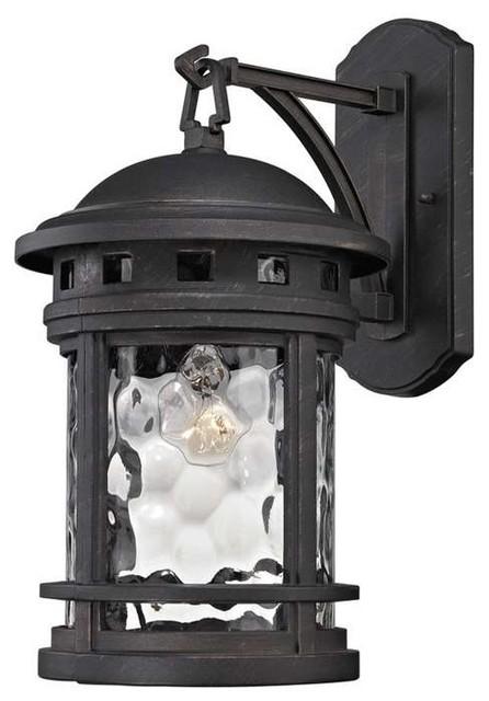 "Costa Mesa 1-Light Outdoor Wall Lantern, Weathered Charcoal, 9""x9""x17"""