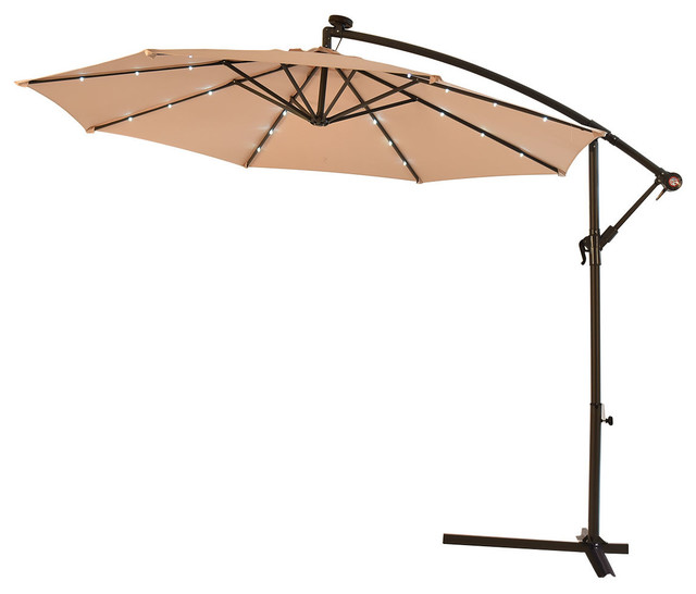 Costway 10 Hanging Solar Led Umbrella Patio Sun Shade Offset Market W Base Contemporary Outdoor Umbrellas By Goplus Corp