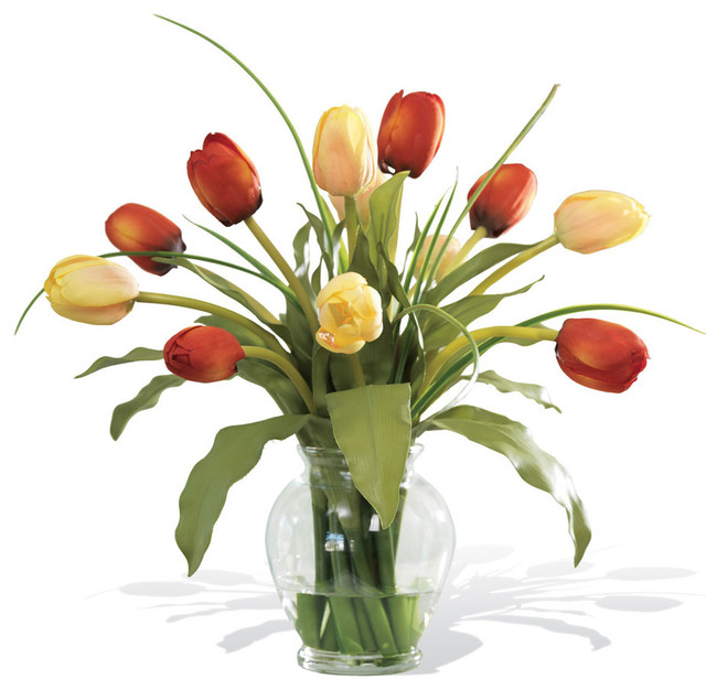 Distinctive Glorious Garden Silk Flower Centerpiece At Petals: Mixed Tulip Silk Flower Arrangement