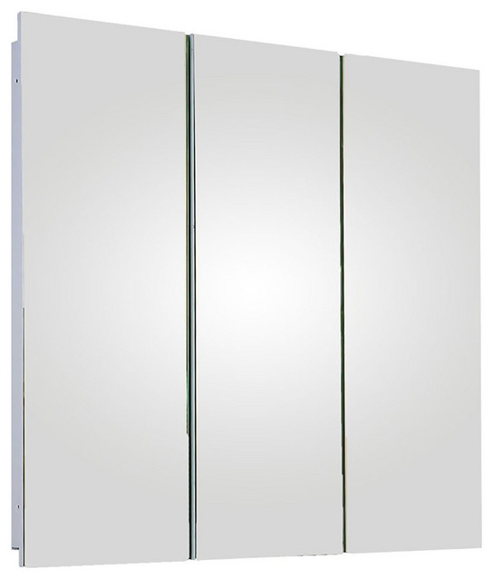 """Tri-View Series Medicine Cabinet, 36""""x36"""", Polished Edge, Partially Recessed"""
