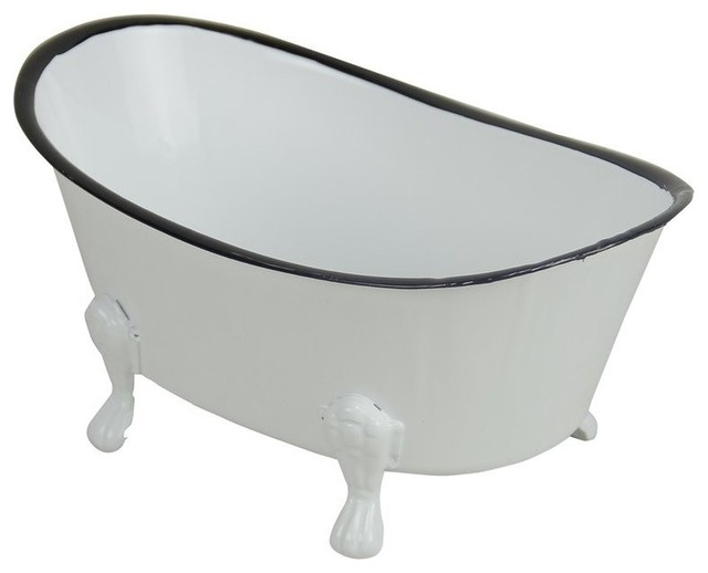 Cheung&x27;s Metal Hand Crafted Decorative Bathtub Planter, White.