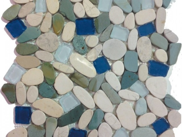 12 Quot X12 Quot Sea Glass Tile And Pebbles Indah Shaved Mosaic