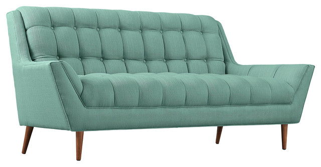 Modern Contemporary Fabric Loveseat , Blue, Fabric.