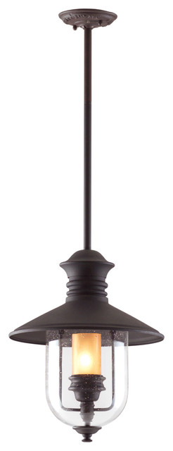 """Old Town, Outdoor Pendant, 12.5"""", Natural Bronze Finish, Amber Cylinder Glass."""