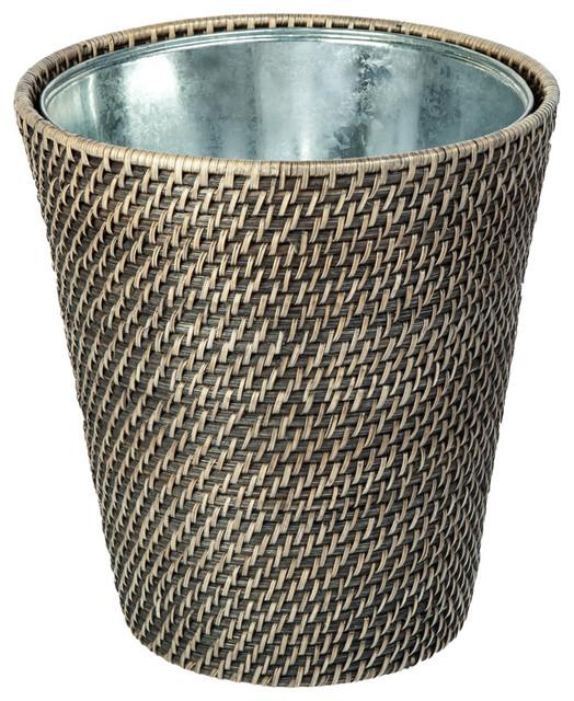 Laguna handwoven round rattan waste basket with tin insert black wash tropical wastebaskets - Rattan waste basket ...