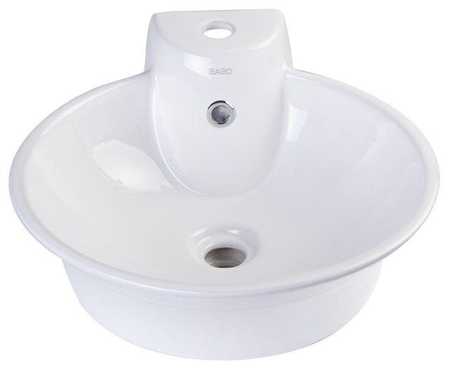 Ba121 Round Ceramic Above Mount Bath Vessel Sink With Single Faucet Hole.