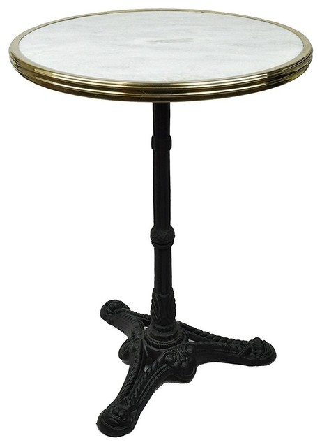Accent Table With Solid White Marble Top And Black Iron Base Modern Design