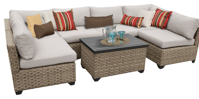 Hampton 07A Outdoor Wicker 7 Piece Patio Set, Beige Tropical Outdoor Lounge Part 84