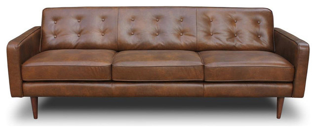 Broxton Mid Century Modern Genuine Leather Sofa - Midcentury ...