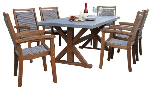 7 Piece Composite Top Dining Set With, Composite Outdoor Furniture