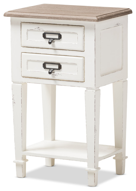 Baxton Studio   Dauphine Provincial Weathered Oak and White Distressed  Finish Wood Nightstand   Nightstands and. Distressed Wood Bedroom Furniture   Houzz