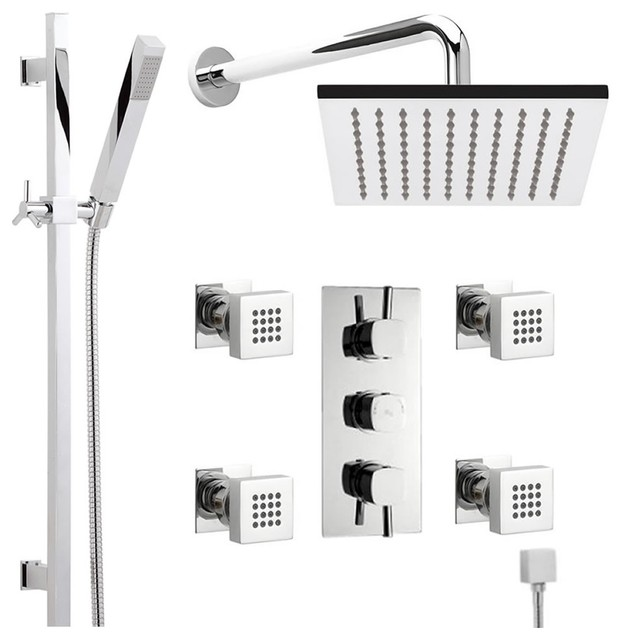 Thermostatic Shower System Chrome With 7 Rain Head Handspray Rail Kit