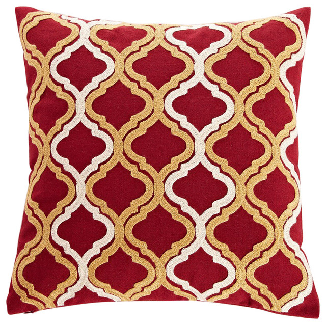 Gold Embroidered Quatrefoil Throw Pillow Mediterranean Beauteous Red And Gold Decorative Pillows