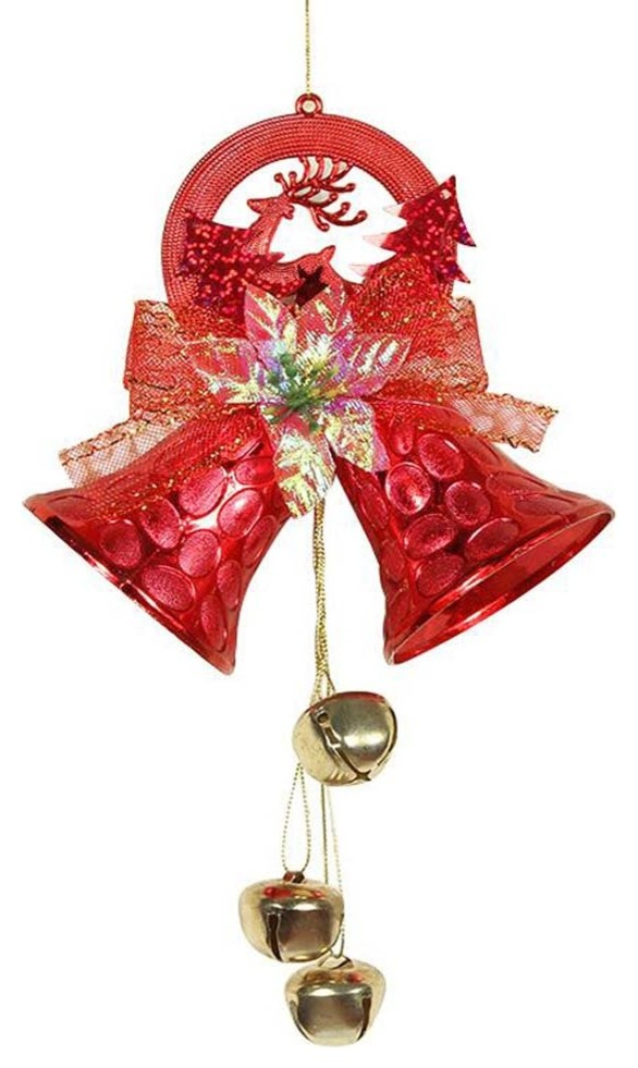 Christmas Decorations Hanging Decorations Tree Ornaments 2 Pcs Red Bells Modern Christmas Ornaments By Blancho Bedding