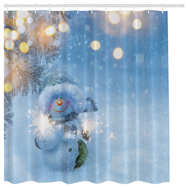 Blue Snowman In Winter Wonderland Christmas Holiday Shower Curtain    Traditional   Shower Curtains   By Curtain Call
