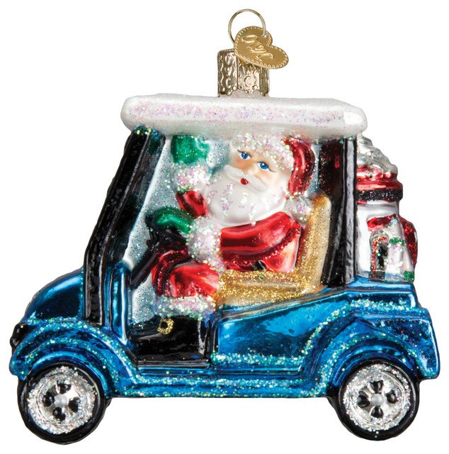 Golf Cart Christmas Decorations.Santa Driving Golf Cart With Gifts Christmas Holiday Ornament Glass 3 5