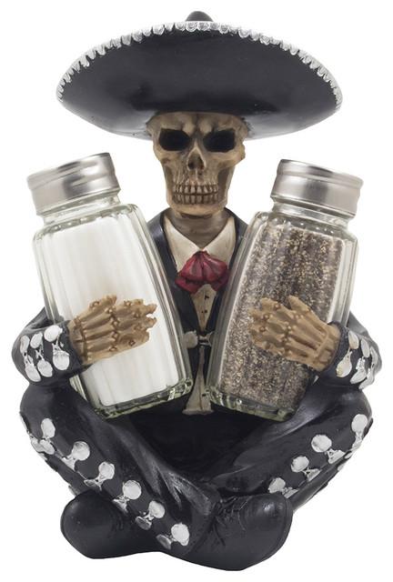 Dia de Los Muertos Mariachi Skeleton Glass Salt and Pepper Shaker 3-Piece Set