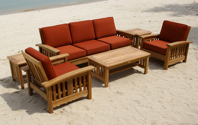 Elegant home design photo in San Francisco & Mission Style Teak Sofa set - Traditional - San Francisco - by ...