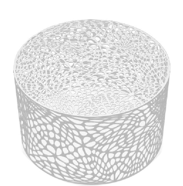 Genial Modern Round Metal Coffee Table, Brilliant White